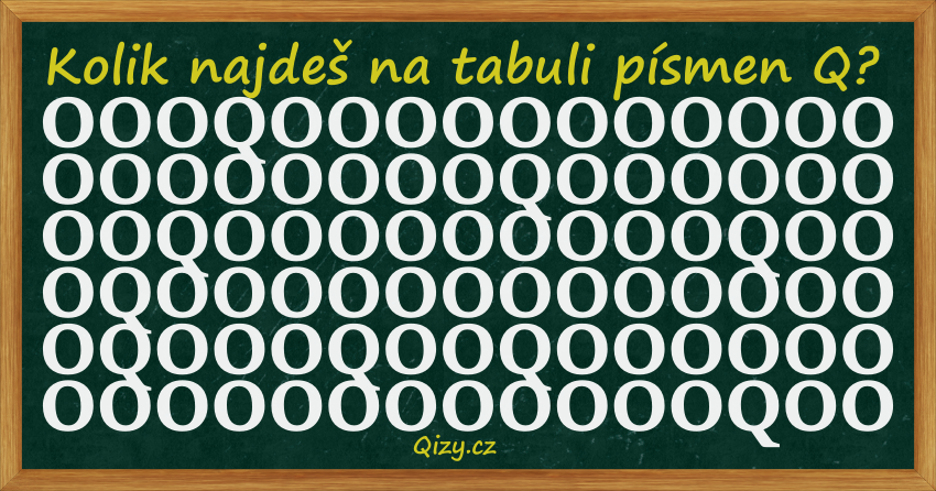 Kolik najdeš na tabuli písmen Q?