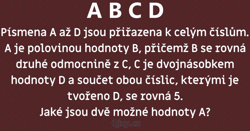 Písmena A čísla A B C D Hádanka