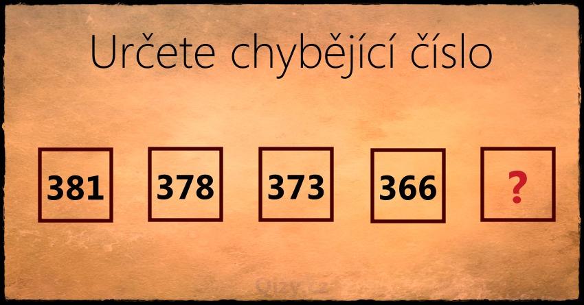 Určete Chybějící číslo Ciselna řada 366